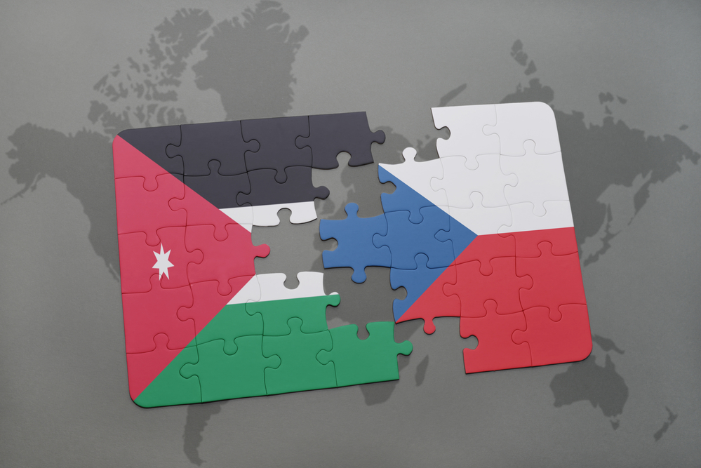 Puzzle with the national flag of jordan and czech republic on a every three years the worlds major fair for the process industry attracts around 4000 exhibitors from over 50 different countries gumiabroncs Image collections